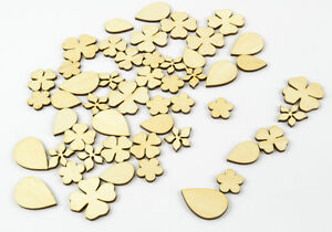 50x-Mixed-Wood-Craft-Shapes-Flowers-and-Leaves-DIY-Project-Beads-Supplies