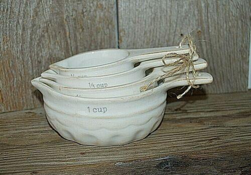 NWT Vintage style rustic cream ceramic set of 4 measuring cups