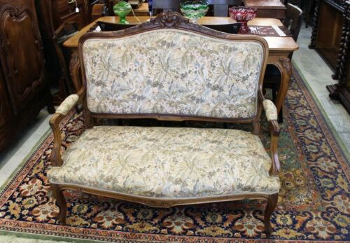 French Walnut Antique Louis XV Settee Loveseat Bench | Living Room Furniture