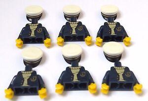 Lego 6 Torso Body & 6 Cap  For Minifigure Figure Sea Captain Series