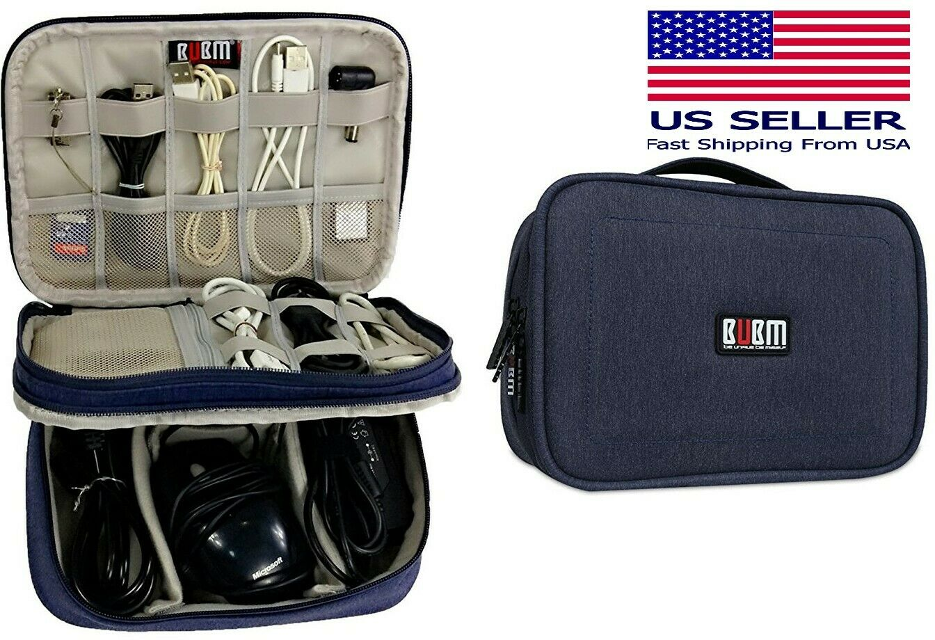 BUBM Electronics Organizer, 2 Compartments Carry Case Dark Blue 9″ for Ipad Mini Other Travel Accessories