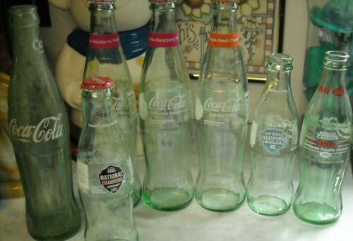 Lot of Coca Cola Bottles Glass Gamecocks N.C. Charlotte . Raspberry Peach