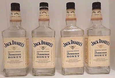4 Jack Daniels Tennessee Honey Whiskey 750ml Bottles + Caps 750 ML Crafts Bottle for sale  Bad Axe