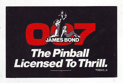 JAMES BOND 007 Original NOS Pinball Machine MINI PROMO Flyer 1980 GOTTLIEB 4 X 6