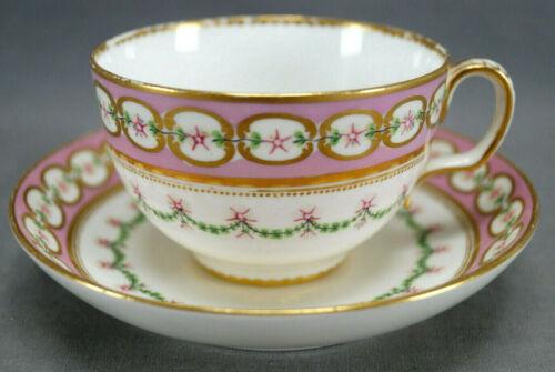 Minton Hand Painted Pink Floral Pompadour Pink & Gold Tea Cup & Saucer C.1860s D
