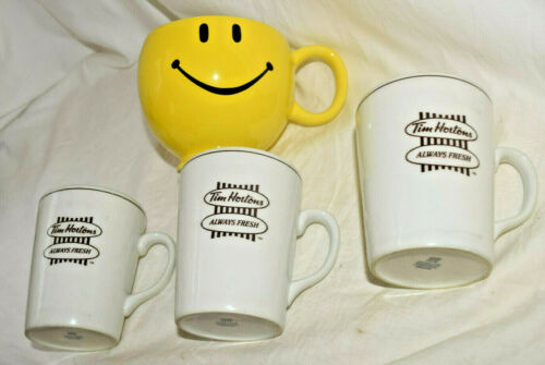 Set Of 3 White Ceramic Tim Hortons Coffee Mugs - No Chips Or Cracks + Bonus Cup