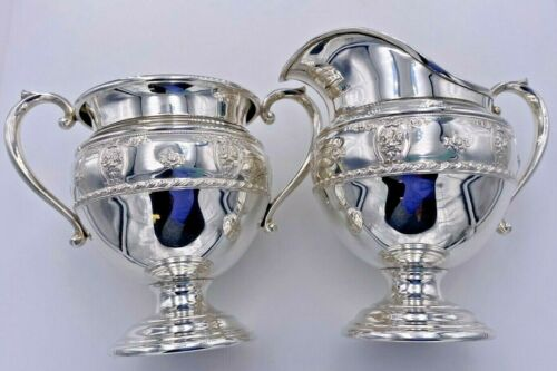 WALLACE STERLING SILVER 925 ROSE POINT 1934 MINI CREAMER & OPEN SUGAR BOWL SET