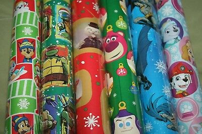 Christmas Wrapping Paper Gift Wrap Roll Paw Patrol Batman Toy Story TMNT Rudolph