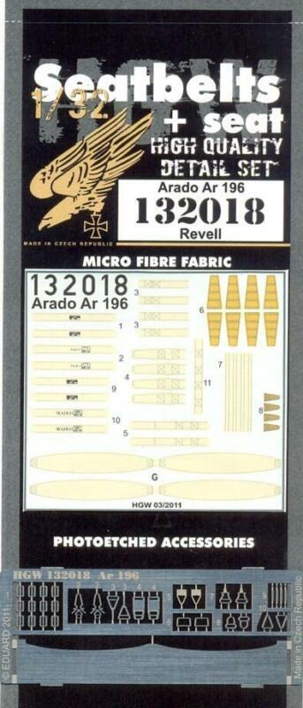 HGW 1/32 Seatbelts & resin seat for Arado Ar 196 for Revell - 132018