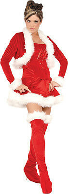 Ms Claus Kostüme (MS. CLAUS ADULT WOMENS COSTUME Red Bustier Skirt Christmas Party Theme Outfit)
