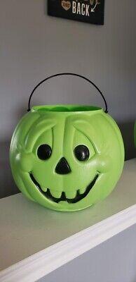 General Foam Plastics GREEN Pumpkin Pail Bucket Blow Mold USA Halloween VINTAGE