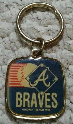Vtg Atlanta Braves MLB baseball metal brass Keychain Keyring 1988 NOS  ()