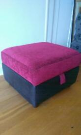 Red fabric foot stool with storage
