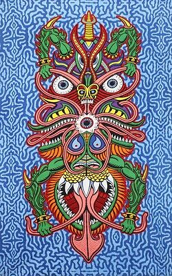 Boogie Man 3D Tapestry Cool Fabric Wall Art by Chris Dyer - Free 3-D Glasses
