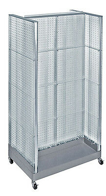 Clear Neon Plastic Pegboard Floor Display H Unit On Wheeled Base 36w X 66 H