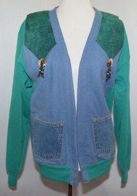 VTG Jerzees Sweatshirt Jean Santa Fe Western Handmade Jacket USA Made Womens M