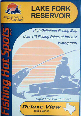 Reservoir Fishing Map - Lake Fork Reservoir Detailed Fishing Map, GPS Points, Waterproof  #A422
