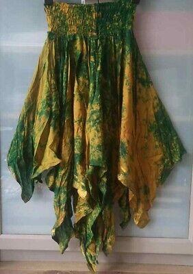 BEAUTIFUL green/orange SILK TIE-DYE HANKY-HEM RAG SKIRT*BOHO FESTIVAL PIXIE 8-12