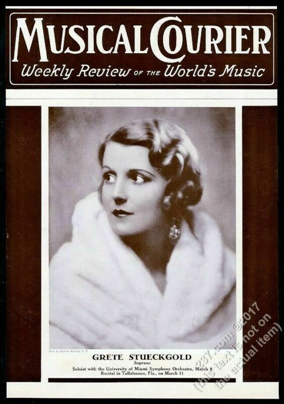 1937 Grete Stuckgold photo Musical Courier framing cover