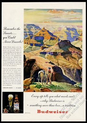 1947 Budweiser Beer Grand Canyon cowboy horse art vintage print ad
