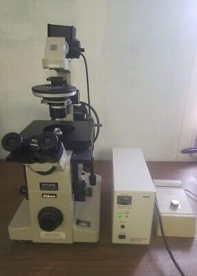 Nikon Diaphot Microscope W Objectives Nikon C-shg1 Power Supply Transformer Un