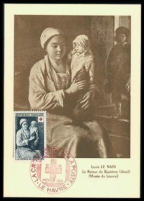 FRANCE MK 1953 ROTES KREUZ LE NAIN GEMÄLDE LOUVRE CARTE MAXIMUM CARD MC ax54