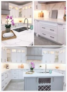 Solid Wood Transitional Kitchen Cabinets White/Grey SALE
