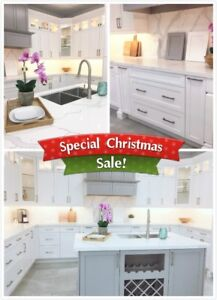 Elegant Kitchen White/Grey Solid Wood Shaker Cabinets