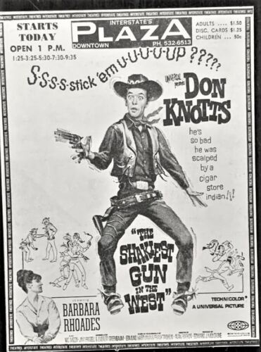 """1968 movie ad. - """"The Shakiest Gun in the West"""" - Don Knotts - Original"""