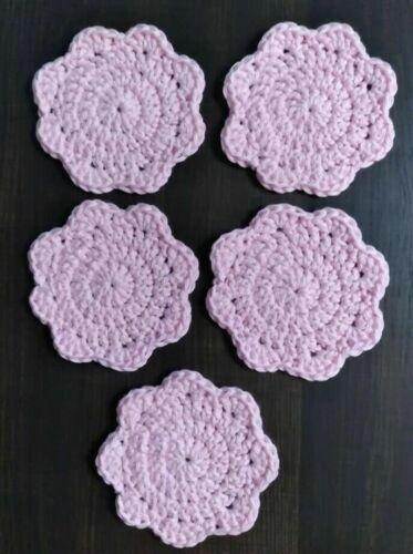 Crotchet Handmade Coasters Set of 5 Color Pink 100% cotton super soft
