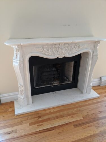 Hand Carved Marble Fireplace Mantel in Premium White