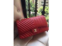 Chanel Jumbo chevron lambskin leather bag
