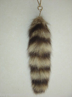 2pcs Real Large American Raccoon Tail Fur Keychain Tassel Bag Tag Charm US stock