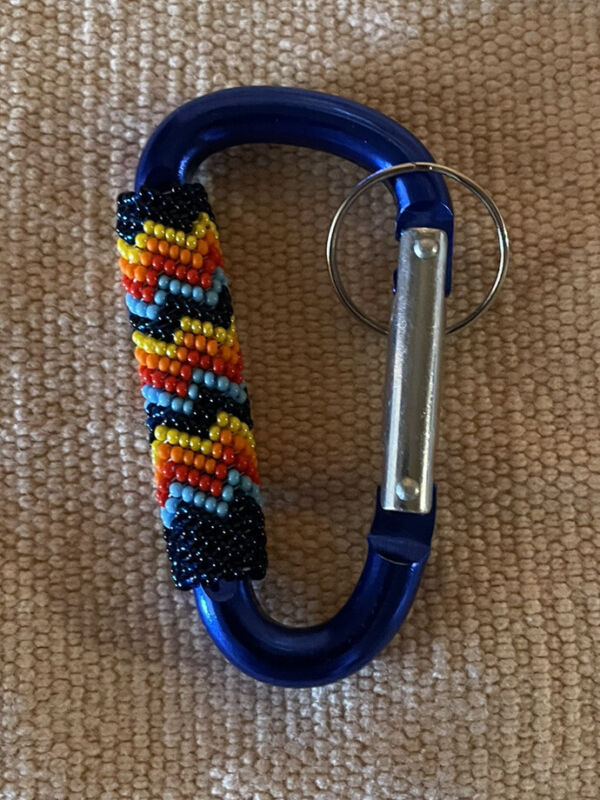 Beautiful Peyote Stitched Native American Lakota Beaded Carabiner Keychain
