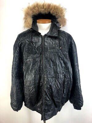 Scarface Brand Genuine Leather Jacket Men's Zip Off Fur Hood Coat Parka Sz 3XL