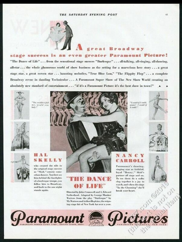 1929 Nancy Carroll Hal Skelly photo The Dance of Life burlesque movie release ad
