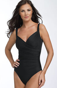$152 New! Sz: 10  Miraclesuit Sanibel One Piece Compression Swimsuit Black