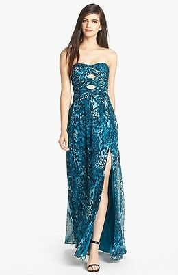 Hailey by Adrianna Papell Cutout Print Chiffon Gown (size