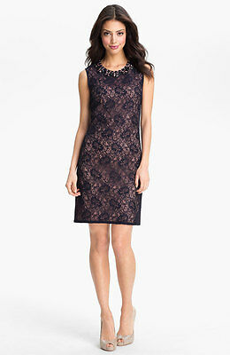 Adrianna Papell Embellished Lace Shift Dress (size 10P)^