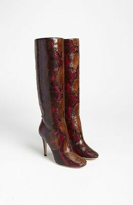 JIMMY CHOO TOSCA  PSYCHADELIC PYTHON KNEE-HIGHT BOOTS SHOES 37.5/7 $2895