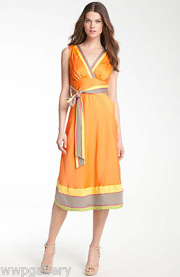 Sunset Cocktail (NWT CATHERINE MALANDRINO BANDED SILK SURPLICE DRESS SUNSET COCKTAIL PARTY SIZE 2)