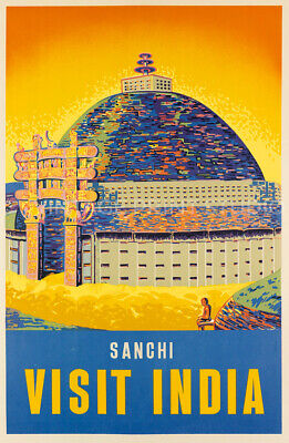 Visit India Vintage Travel Sanghi Advertising Poster Giclee Canvas Print 20X31