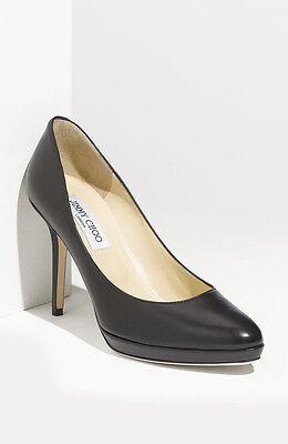 NEW Jimmy Choo AIMEE BLACK Leather Pump Mini Platform Heels Shoe 40.5 - 10.5