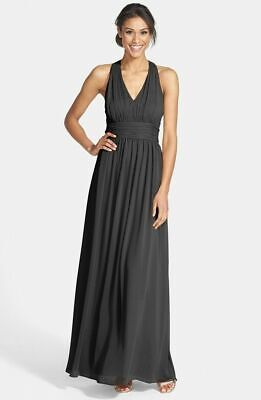 Eliza J Halter Chiffon Gown Black Maxi Dress Ruched Cutout Belt New Sz 4 4866 Chiffon Ruched Halter Dress