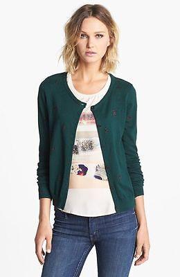 New Maison Scotch Green Metallic Star Pattern Knit Cardigan Top Jacket 3  L 8 sz