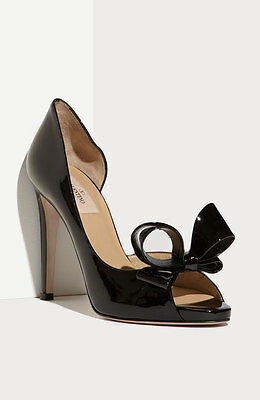 $745+ VALENTINO Couture Bow d'Orsay BLACK Patent Leather Pump Heels Shoes 40.5  for sale  USA