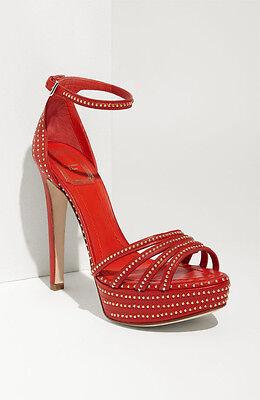 NIB Christian Dior Bracelet Red w Gold Stud Platform Sandal Shoes Pumps Sz 39.5