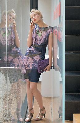Suzi Chin for Maggy Boutique Floral Satin Sheath Dress   (Size  14)