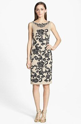 Beaded Jacquard Sheath Dress - St. John Collection Beaded Floral Jacquard Sheath Dress ( Size 10)