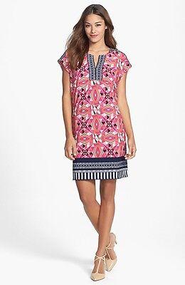 NWT LAUNDRY by Shelli Segal Split Neck Kaleidoscope Jersey Shift Dress S $138 Kaleidoscope Jersey Dress